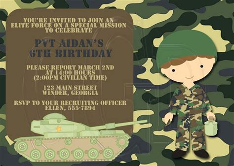 army birthday card template army birthday invitations ideas bagvania free printable