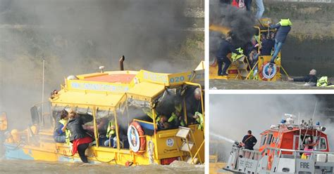 duck tour boat fire london london duck tours boat bursts into flames forcing