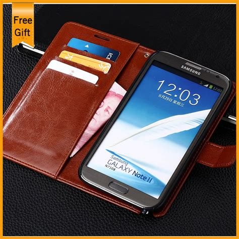 Leather Kulit Flip Cover Wallet Samsung Note 2 3 4 5 S7 Edge luxury pu leather wallet stand flip style for samsung galaxy note 2 ii n7100 phone cover