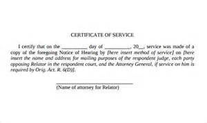 Service Certificate Template by Certificate Of Service Template 8 Free