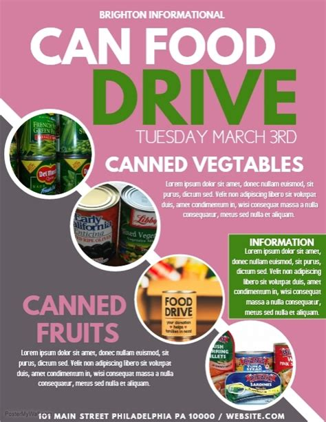 can food drive flyer template food drive template postermywall