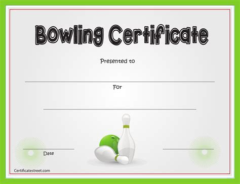Bowling Certificate Template by Bowling Certificate Template For Free Formtemplate