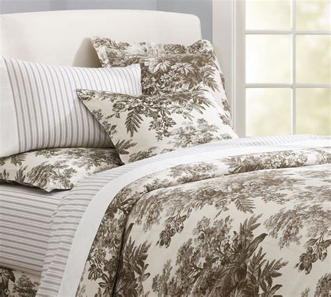 toile quilts and comforters toile quilt paired with striped sheets toile pinterest