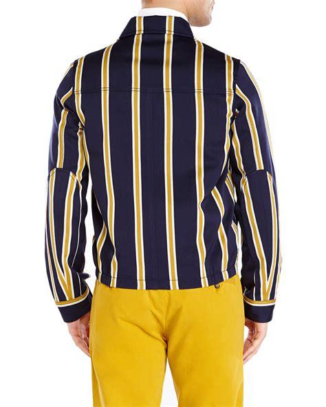 Jaket Navi Black Yellow 1 ami navy yellow stripe zip front jacket in blue for navy yellow lyst