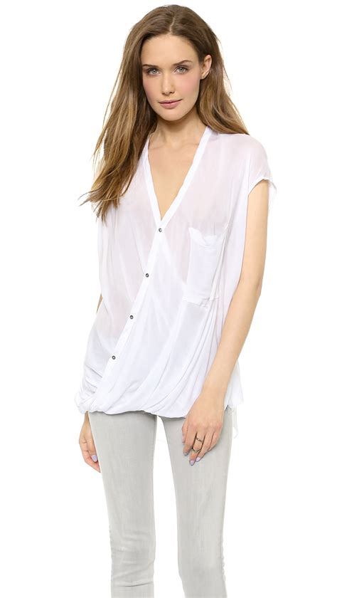Helmut Lang Draped Angled Top In White Optic White Lyst