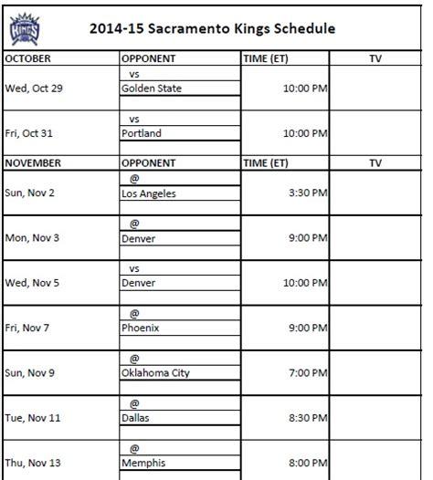 printable kings schedule download print 2014 15 sacramento kings schedule