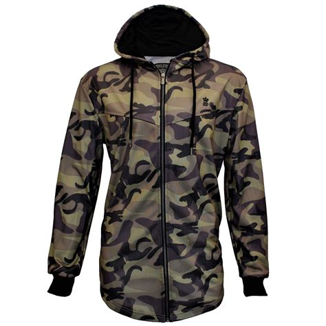 Camouflage Hooded Sweatshirt mens soulstar camouflage longline camo zip up hooded
