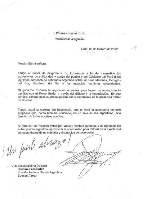 argentina recibe carta de apoyo desde peru y