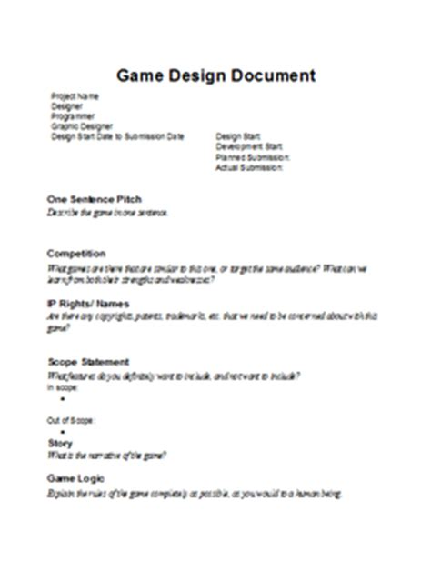 game design document template driverlayer search engine