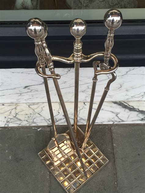 Silver Fireplace Tools by 19th Century Silver Plated Tool Set For Sale
