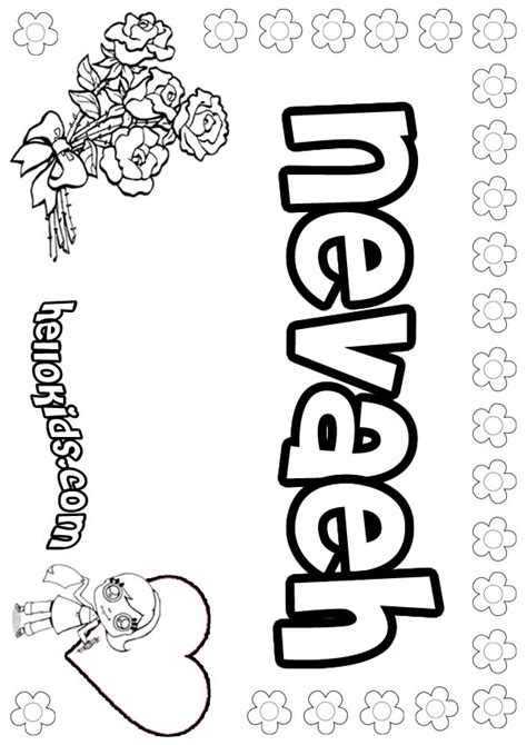 coloring book for names nevaeh coloring pages hellokids