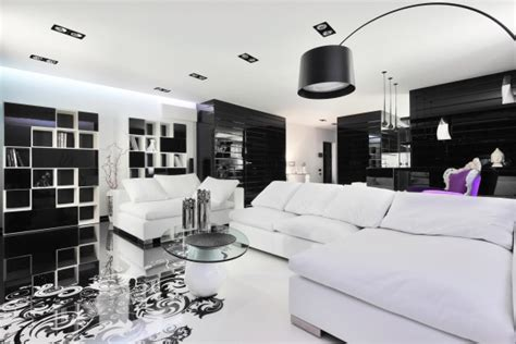 black and white living room dise 241 o de moderno apartamento en color blanco y negro