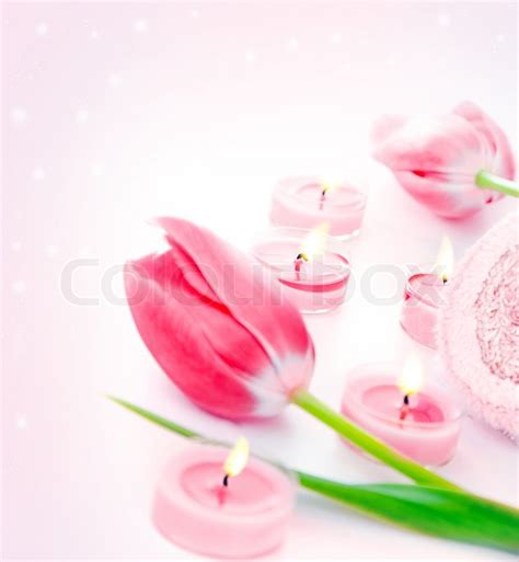fiori day spa spa candle with pink tulip flowers aromatherapy day spa