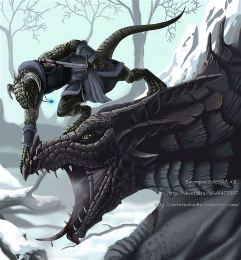 skyrim argonian fan art skyrim dovahkiin and dragon by victoriadaedra on deviantart