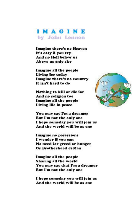 printable lyrics imagine imagine