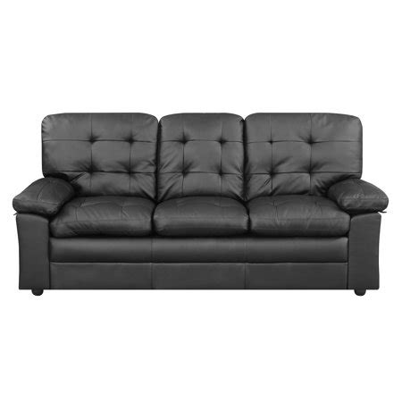 buchannan faux leather sofa mainstays buchannan sofa black faux leather onsales11 com