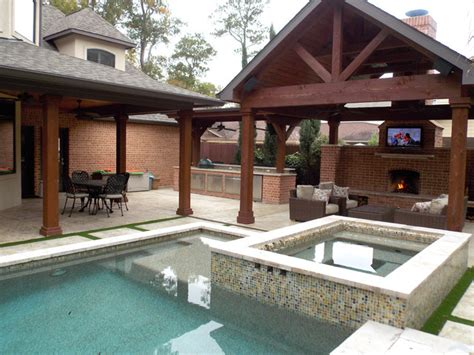 pool with outdoor living designs pool with outdoor living outdoor living spaces traditional pool houston by