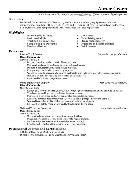Mechanic Resume by Best Diesel Mechanic Resume Exle Livecareer