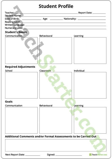 communication profile template student profile template teaching resource teach starter
