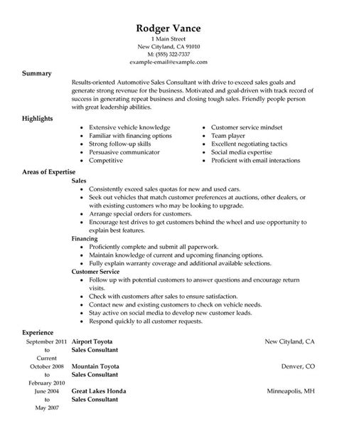 sle resume for car sales consultant best sales consultant resume exle livecareer