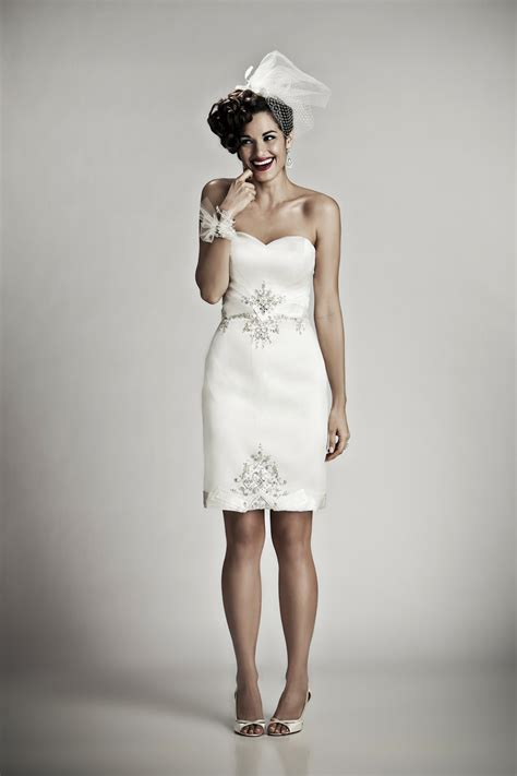 adorable above knee ivory silk strapless wedding