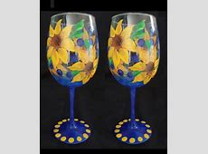 Sunflower Funflower Hand Painted Wine Glasses Diy