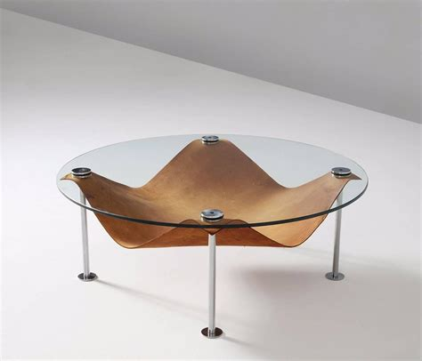 Leather And Glass Coffee Table Coffee Table In Glass And Cognac Leather For Sale At 1stdibs