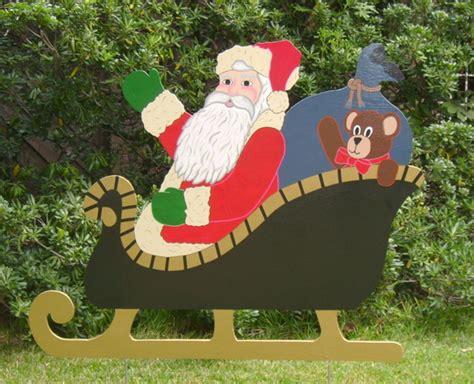 santa and sleigh yard art santa in sleigh yard yard made by de yard houston tx