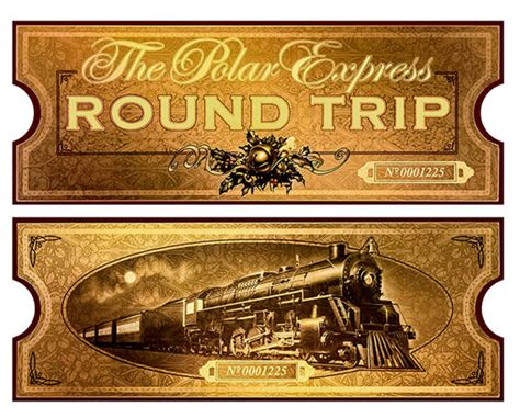 printable minivan express tickets polar express film movie reproduction golden train by