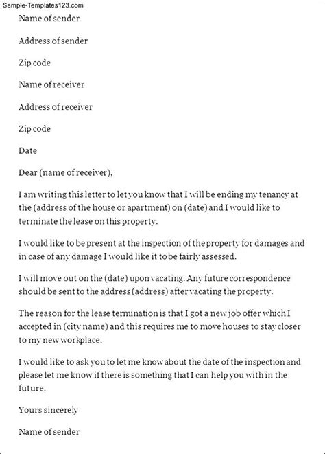 lease termination letter template lease termination letter sle templates