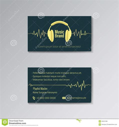 business card template for music brand stock vector