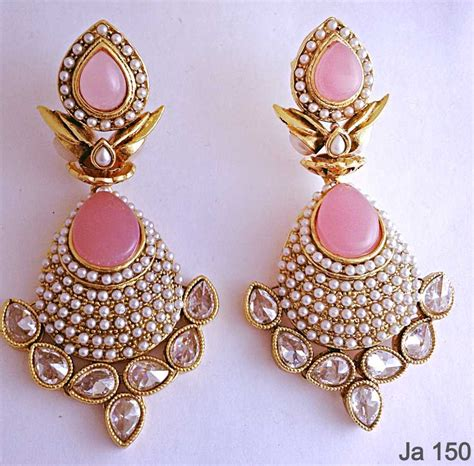 Online Home Decor Shopping In India by Buy Pink Stone Kundan Earrings Online