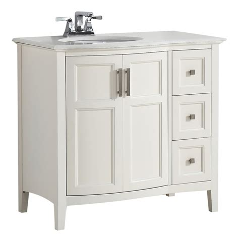 36 In Bathroom Vanity With Top Shop Simpli Home Winston Soft White Undermount Single Sink Birch Bathroom Vanity With Engineered