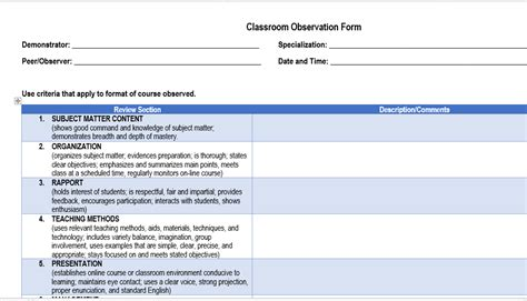classroom observation form template bulletin class observation guide and forms of the k 12