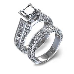 wedding sets channel set princess cut wedding set in 14k white gold