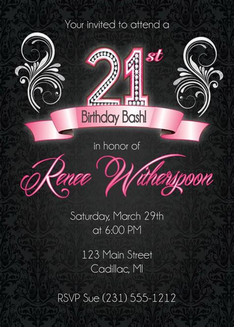 21 Birthday Invitation Card Template by 25 Best Ideas About 21st Birthday Invitations On