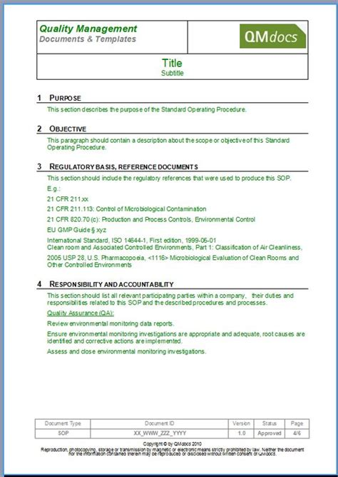 policy and procedure document template standard operating procedure template sop template