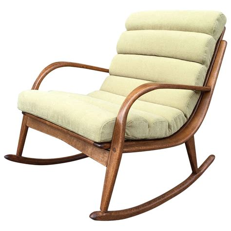 Extremely rare danish modern bentwood upholstered rocking chair at 1stdibs