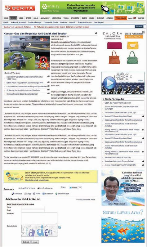 Kompor Gas Tecstar Anti Ledak tecstar electronics home appliances news news