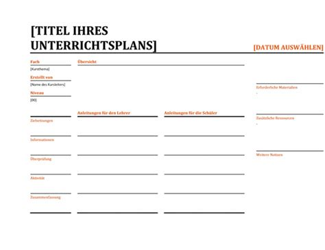 Word Vorlage Unterrichtsplanung Unterrichtsplan Office Templates