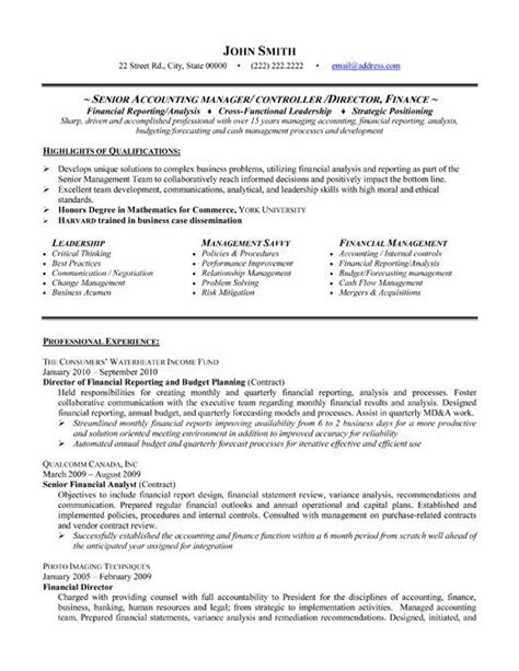Resume Format For Accountant by Senior Accountant Resume Format Http Www Resumecareer