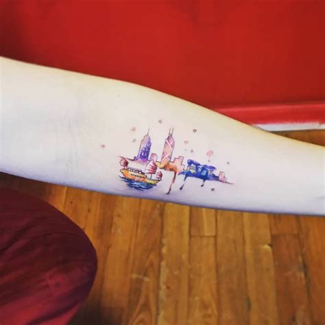 watecolor style hong kong skyline tattoo on the