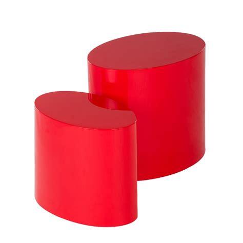beistelltisch rot neu 2er set beistelltisch rot hochglanz oval couchtisch