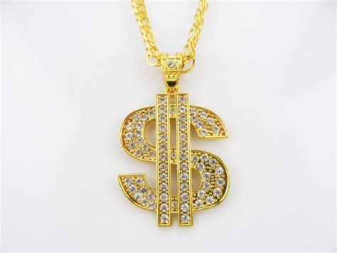 zinc alloy coin necklace hip hop rap singer 18k gold