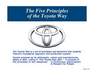 Toyota Company Value The Five Principles Of The Toyota Way
