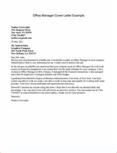 office manager cover letter exle 14 cover letter sle for office administrator basic