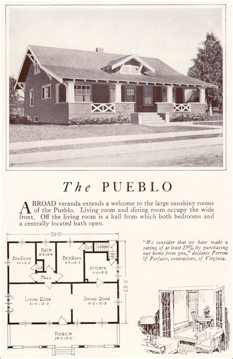 pueblo style house plans pueblo 1922 lewis manufacturing bay city side gabled