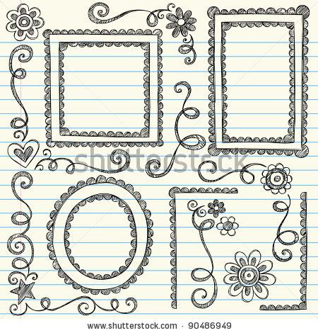 pattern border drawing drawn paper easy pencil and in color drawn paper easy
