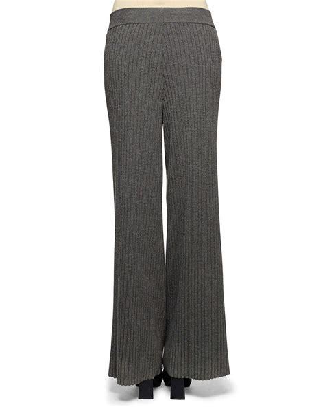 wide leg knit lyst stella mccartney wide leg ribbed knit in gray