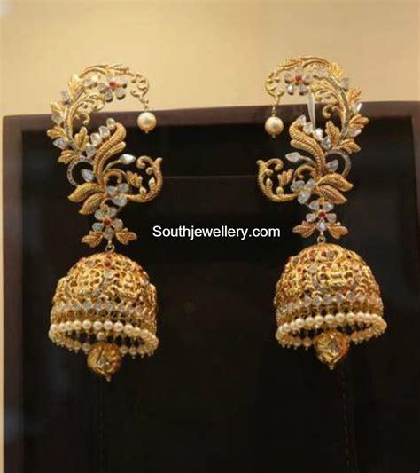 Antique Gold Lakshmi Jhumkas   Jewellery Designs